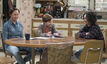 Laurie Metcalf as Jackie, Ames McNamara as Mark and Sara Gilbert as Darlene in <i>The Conners</i>.