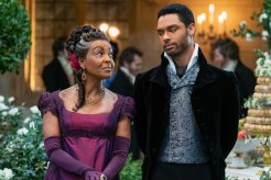 Adjoa Andoh as Lady Danbury and Rege-Jean Page as Simon Basset in Netflix's Bridgerton.