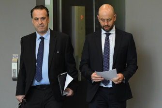 ARLC chairman Peter V'landys and NRL CEO Todd Greenberg yesterday.