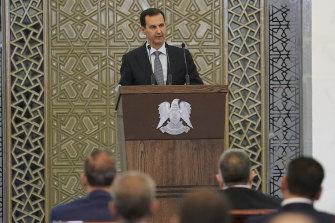 Syrian President Bashar al-Assad addresses Parliament in Damascus last week.