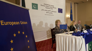 The European Union's monitoring team gave a passing grade to election day polling in Pakistan. But it gave a failing grade to the pre-polling campaigning marred by intimidation of the media and unfair targeting of the former ruling party.