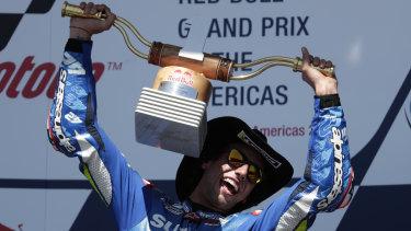 Spain's Alex Rins savours his MotoGP triumph.