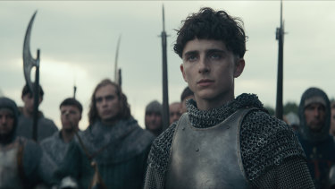 Timothee Chalamet, whose star is rapidly on the rise, plays Hal in The King.