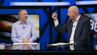 Gerard Whateley (left) and Mark Robinson on AFL 360.