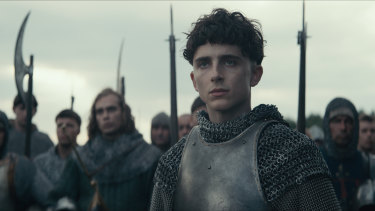 Timothee Chalamet plays Hal in The King.
