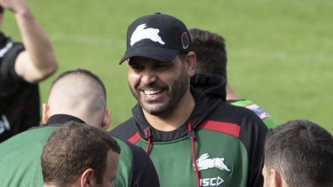 Greg Inglis at South Sydney training on Wednesday.
