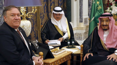 US Secretary of State Mike Pompeo, left, meets with Saudi Arabia's King Salman in Riyadh, Saudi Arabia.