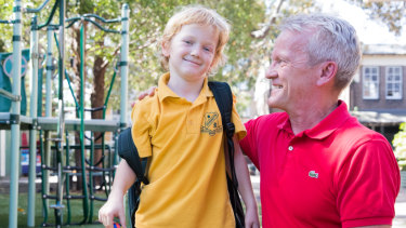 Pasi Sahlberg and his six-year-old son Otto are getting used to the Australian school system after moving from Finland