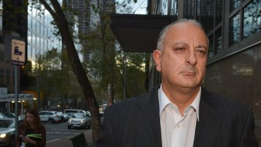 Bill Jordanou leaves Melbourne Magistrates Court after getting bail in May 2014.