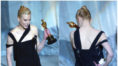 An emotional Nicole Kidman accepting the award for best actress for her role in The Hours.