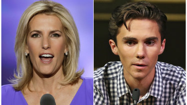 Laura Ingraham and David Hogg have traded barbs over Twitter.
