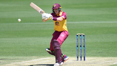 Marnus Labuschagne of the Bulls in action during the Marsh One Day Cup match against South Australia at the Gabba on Wednesday.