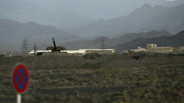 An anti-aircraft gun position at Iran's nuclear enrichment facility in Natanz, Iran.