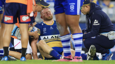 Nathan Brown in agony against the Bulldogs.