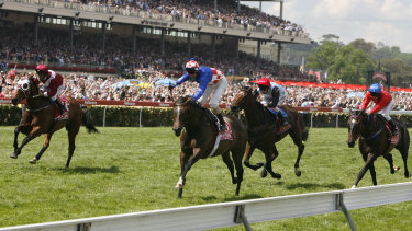 Glen Boss on Makybe Diva as she wins her historic third Melbourne Cup.
