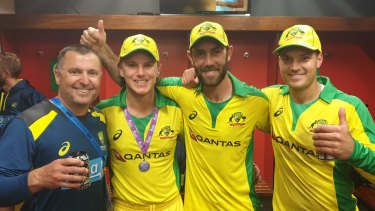 Trent Woodhill, Adam Zampa, Glenn Maxwell and Alex Carey pose for a photo they sent to Tony Connelly after Australia's series win in England.