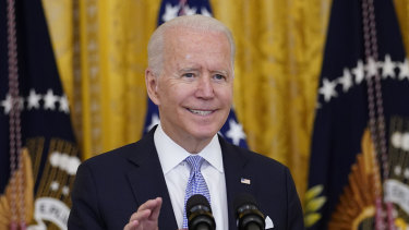 US President Joe Biden urges the public to vaccinated.