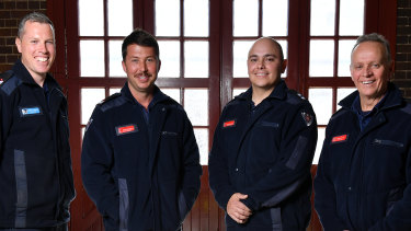 From left, senior firefighters Bennett Gardiner and Mitchell Bennetts, leading firefighter Gonzalo Herrera and station officer Mike Stuart at Drummoyne Fire Station.