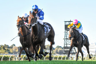 Mark Zahra steers Oceanex to victory at Flemington on Saturday to earn a place in this year's Melbourne Cup.