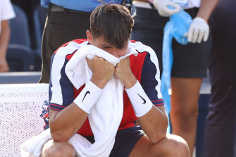 Alexei Popyrin reacts after losing in the third round of the US Open.
