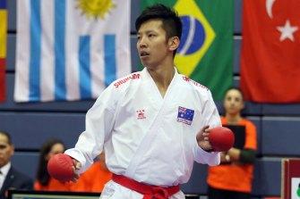 Australian Tsuneari Yahiro competes in the karate kumite -75kg in the sport's Olympic debut.