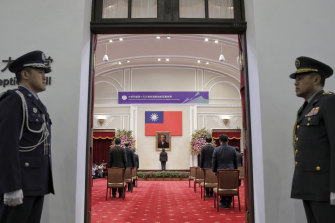 Taiwanese President Tsai Ing-wen stands in the centre during her second and final inauguration ceremony.