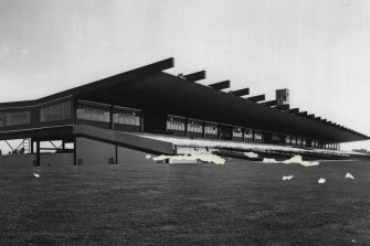 The grandstand in 1965. It was heritage listed in 2019.