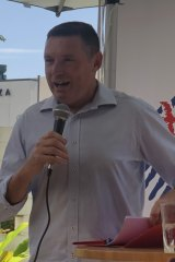 Senate candidate Lyle Shelton speaking to supporters in Kenmore on Sunday afternoon.