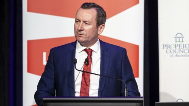 WA Premier Mark McGowan addressing the state's Property Council on Wednesay morning.