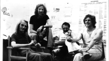 Editorial Staff For Ram: David Mills, Patrick Coyle, Gus Cohen and the Editor, Anthony O'Grady, 1975.