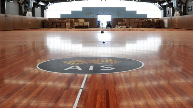 Basketball was one of eight foundation sports at the AIS. The training hall courts were resurfaced three years ago.