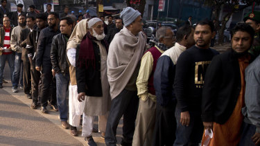 The line of voters outside a polling station in Dhaka, Bangladesh on Sunday.