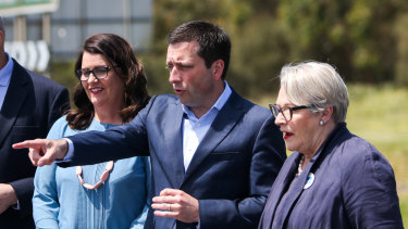 Upper house Liberal MP Bev McArthur (right) with former Opposition Leader Matthew Guy and MP Roma Britnell (left).