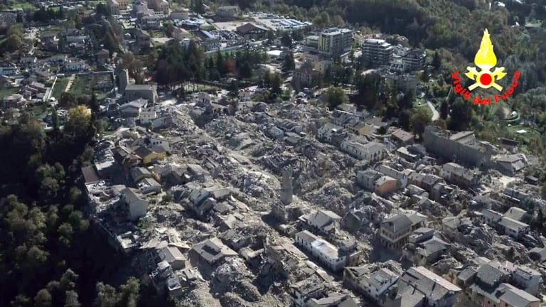 An aerial view of the destroyed hilltop town of Amatrice after the earthquake in October 2016.