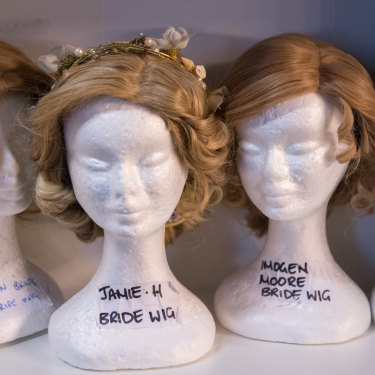 Some of the 139 wigs used in Muriel's Wedding the Musical.