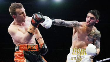 Michael Zerafa (right) shocked Jeff Horn in the 'Battle of Bendigo'.