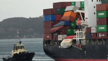 The container ship YM Efficiency arrives at Port Botany after losing 83 containers overboard.