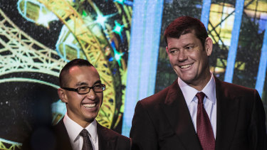 Melco boss Lawrence Ho (left) and James Packer.