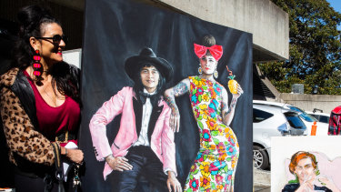 """Tania Wursig delivers her portrait """"Chuckita"""" of DJ Charlie Villas and her jewellery designer wife Nikita Majajas, for the 2021 Archibald Prize."""