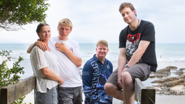 Helen Nicholls with her son Tom, husband Mark and son Jake have camped at Walkerville for many summers.