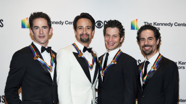 From left: Hamilton choreographer Andy Blankenbuehler, writer and star Lin-Manuel Miranda, director Thomas Kail and music director Alex Lacamoire  at the Kennedy Center Honors in 2018.