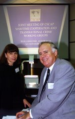 Commodore Sam Bateman and Margaret Beare at the joint meeting of CSCAP at the Wollongong University.