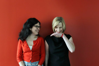 Hamilton superfans Annabel Crabb (left) and Leigh Sales.