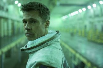 Brad Pitt in Ad Astra where he plays Roy McBride, an astronaut on an mission to find his absentee father.