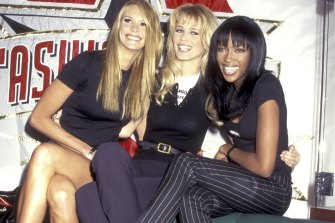 Elle Macpherson, Claudia Schiffer and Naomi Campbell in NYC in 1995.