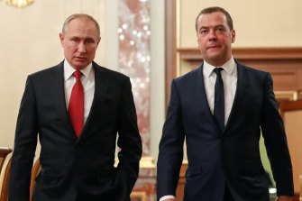 Russian President Vladimir Putin, left, and Russian Prime Minister Dmitry Medvedev.