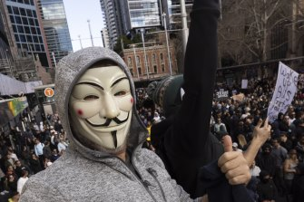 Anti-lockdown protest in Sydney on the weekend.