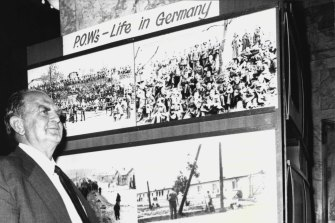 Joseph Herman of Brisbane at a PoW exhibition in Sydney, 1976.