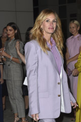 Pastel panache: Julia Roberts steps out in one of the biggest racing trends.