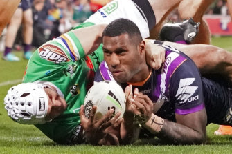 Melbourne Storm's Suliasi Vunivalu, right, has been linked with a move to rugby union.